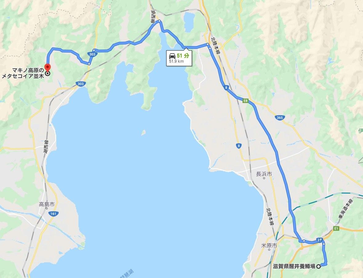 マキノまで地図
